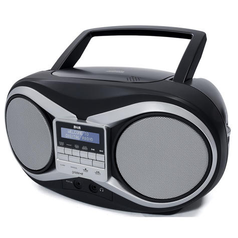 Groov-e Portable Boombox | Portable CD Player | DAB/FM Radio | GVPS753 | LCD Display | Black Thumbnail 3