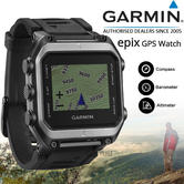 Garmin Epix GPS Outdoor Altimeter Barometer Smart Watch + TOPO UK & Europe Maps
