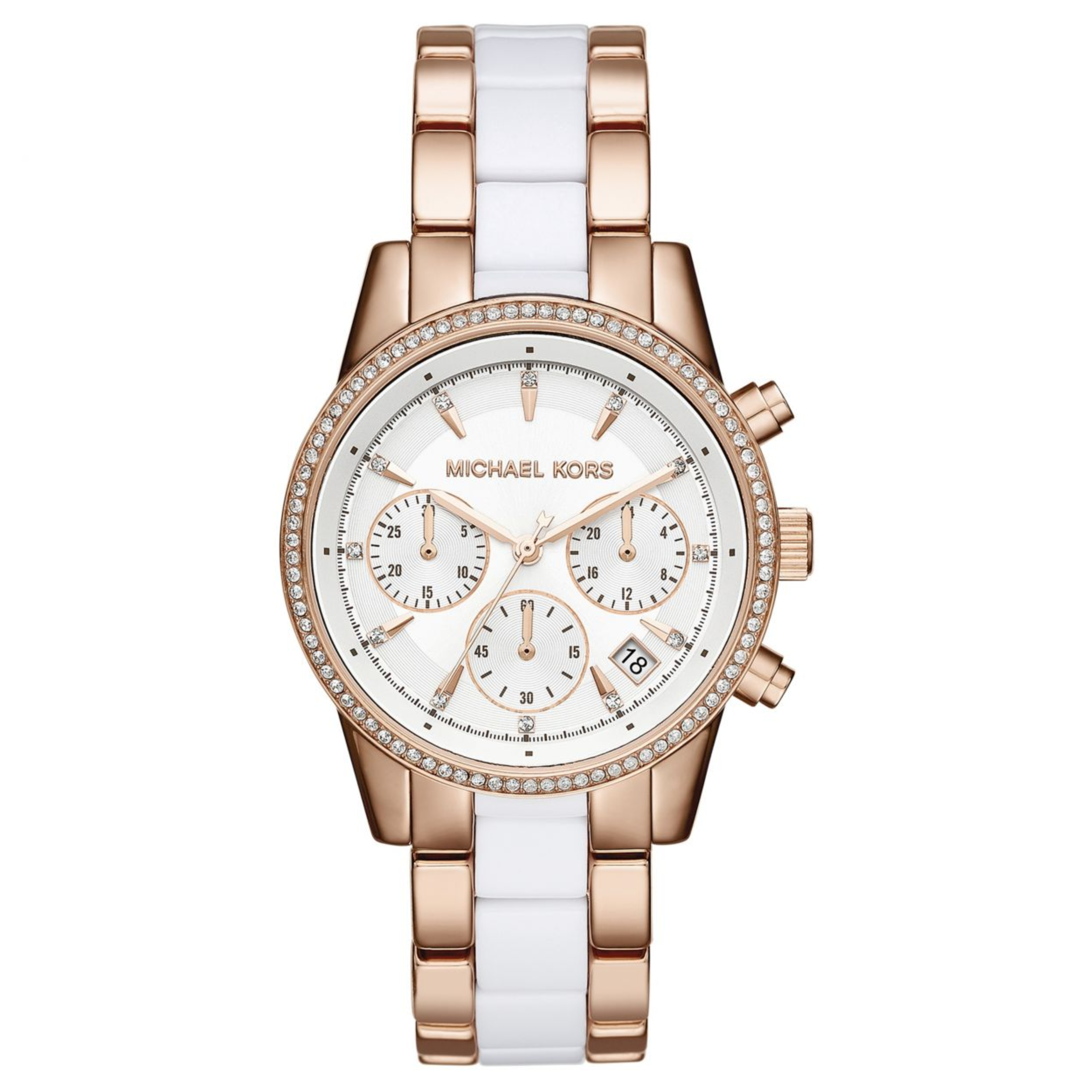 Michael Kors Ritz Ladies' Watch|Chronograph White Round Dial|Dual Tone Band|6324