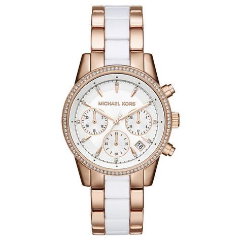 Michael Kors Ritz Ladies' Watch|Chronograph White Round Dial|Dual Tone Band|6324 Thumbnail 1