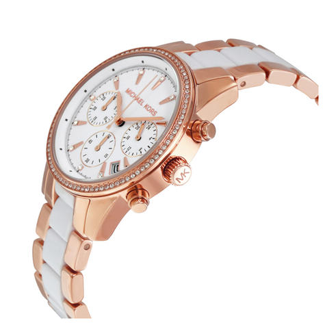 Michael Kors Ritz Ladies' Watch|Chronograph White Round Dial|Dual Tone Band|6324 Thumbnail 2