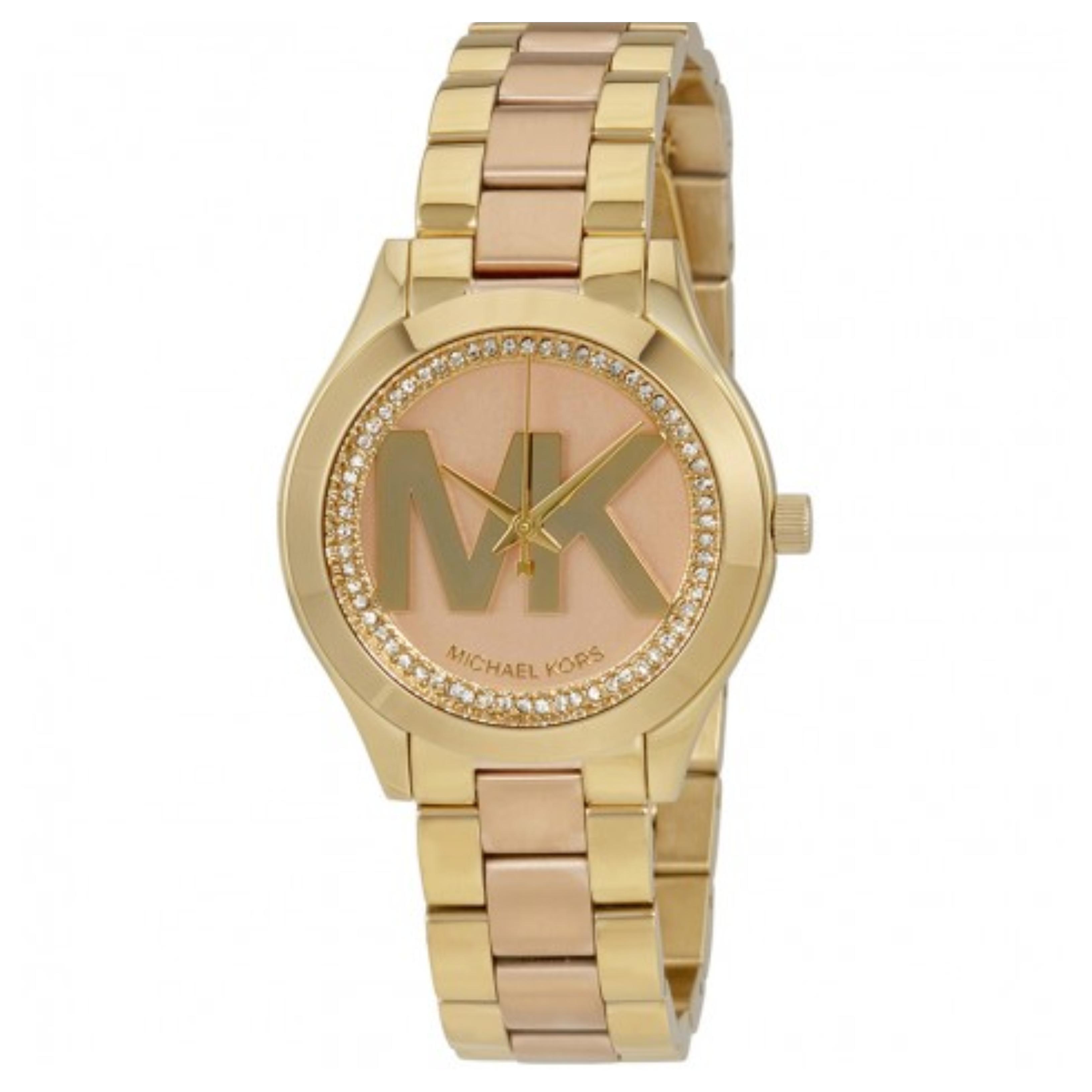 01b2559f2dd2 Michael Kors MK Logo Dial Mini Slim Runway Rose Gold-tone Ladies Watch  MK3650