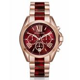 Michael Kors Bradshaw Women's Watch|Chronograph Red Dial|Dual Tone Band|MK6270