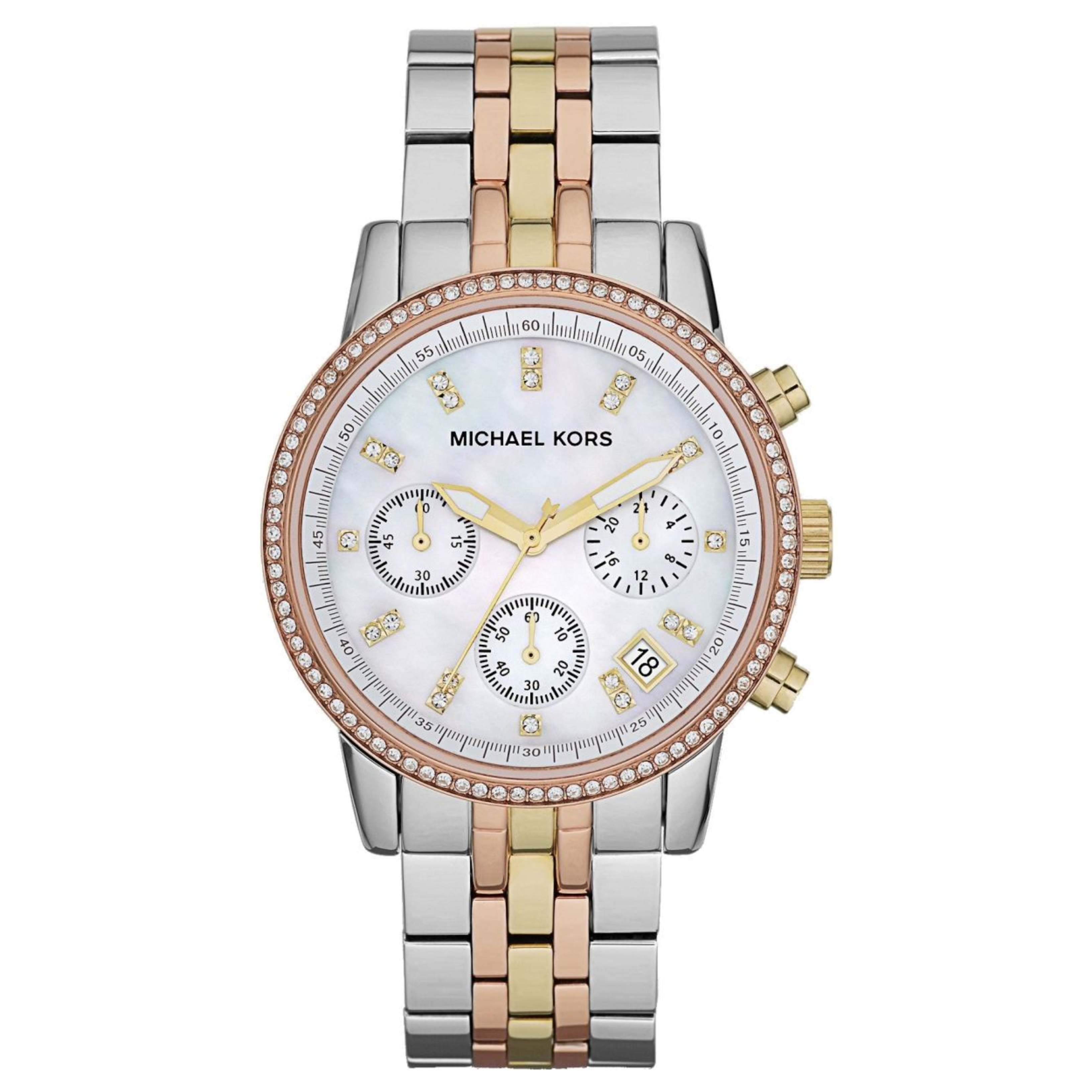 a9f911aa3d96 Michael Kors Ritz Chrono Mother of Pearl Dial Tricolor Steel Ladies Watch  MK5650