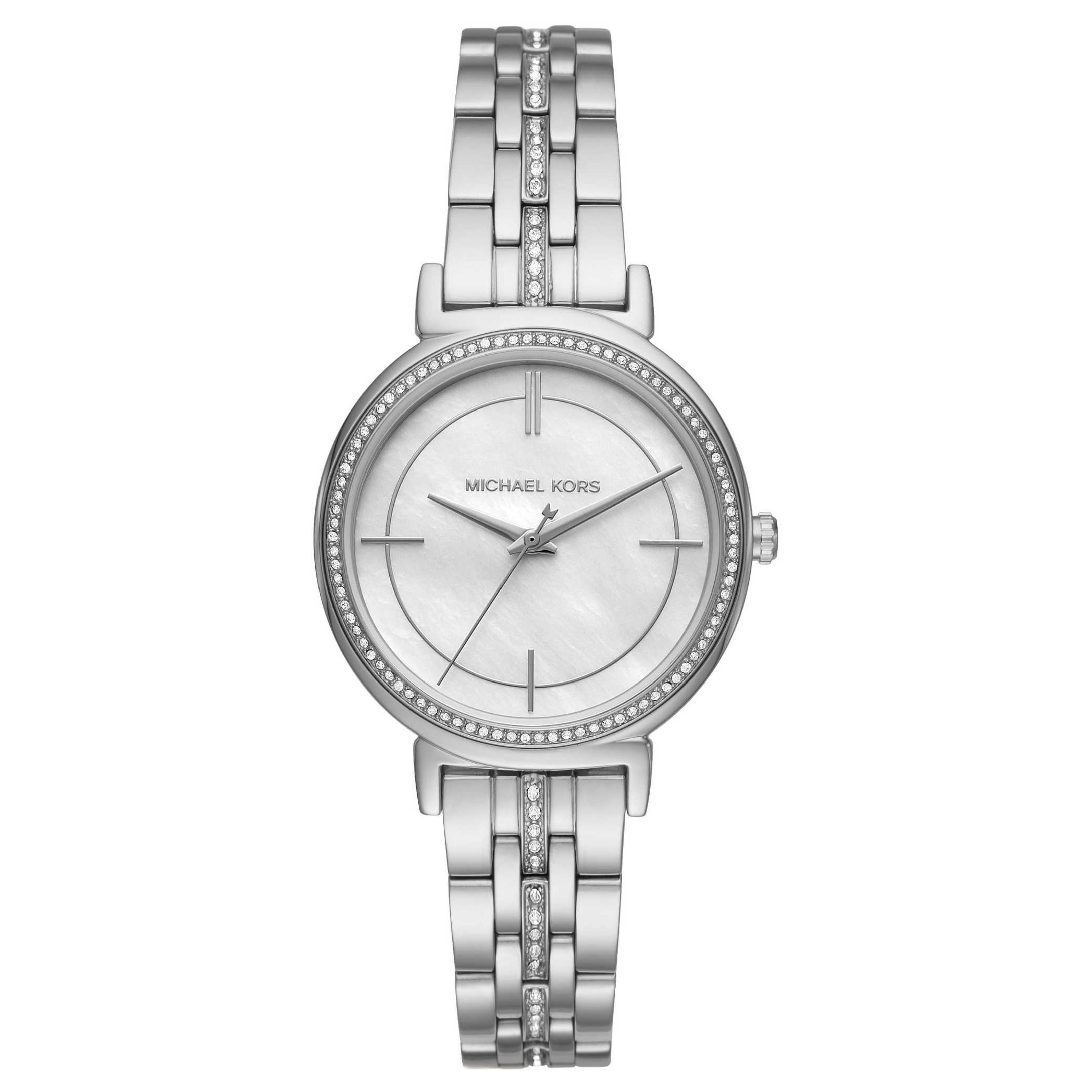 Michael Kors Cinthia Mother of Pearl Crystal Dial SilverTone Ladies Watch MK3641