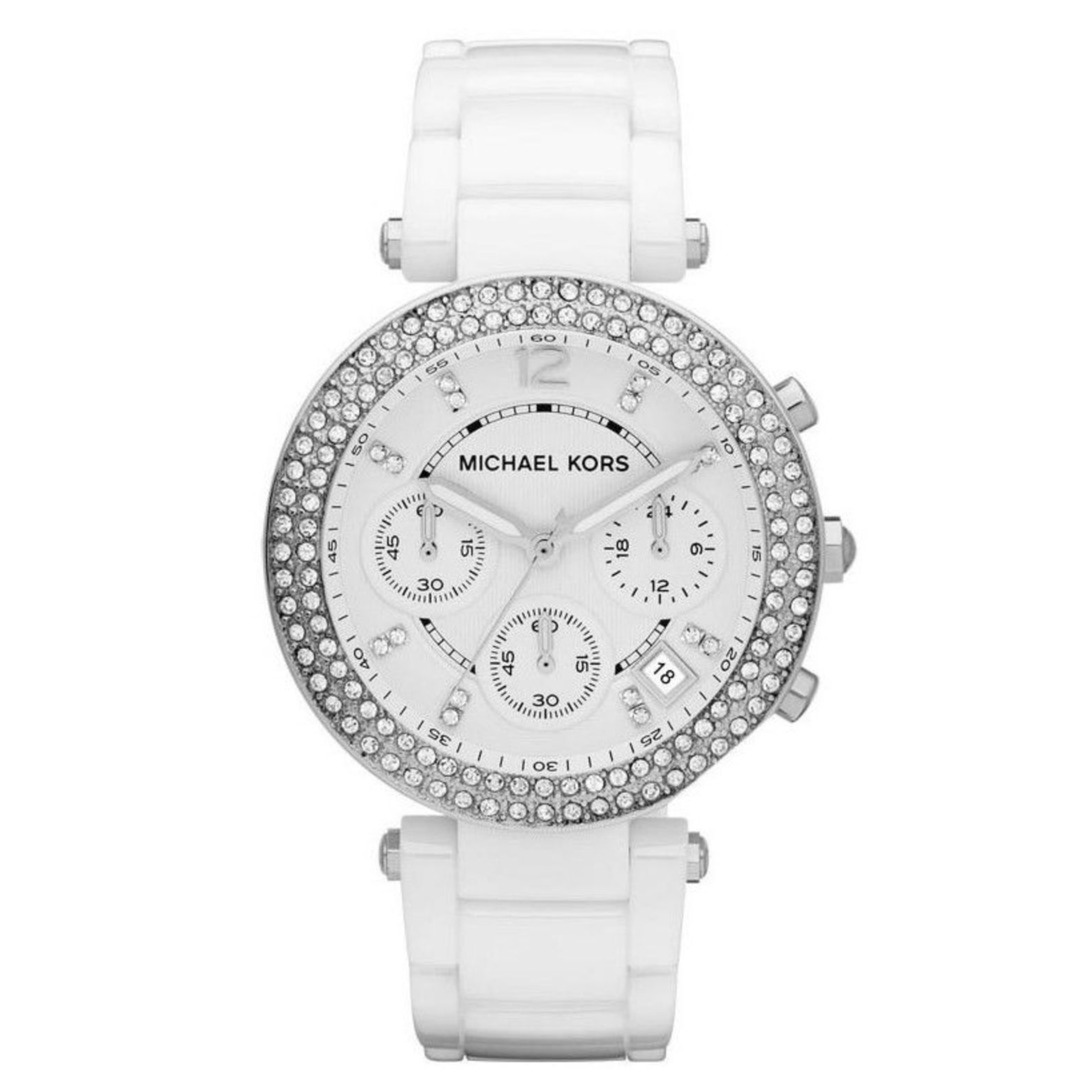 Michael Kors Parker Ladies Watch|Crystal Chrono Dial|White Ceramic Strap|MK5654