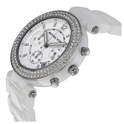 Michael Kors Parker Ladies Watch Crystal Chrono Dial White Ceramic Strap MK5654 Thumbnail 2