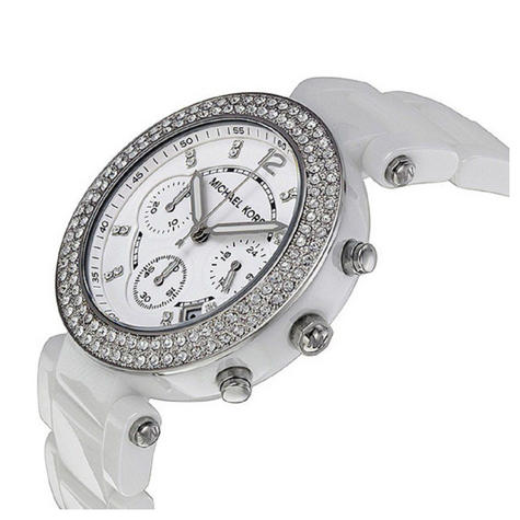 Michael Kors Parker Chronograph Crystal Dial White Ceramic Ladies Watch MK5654 Thumbnail 2