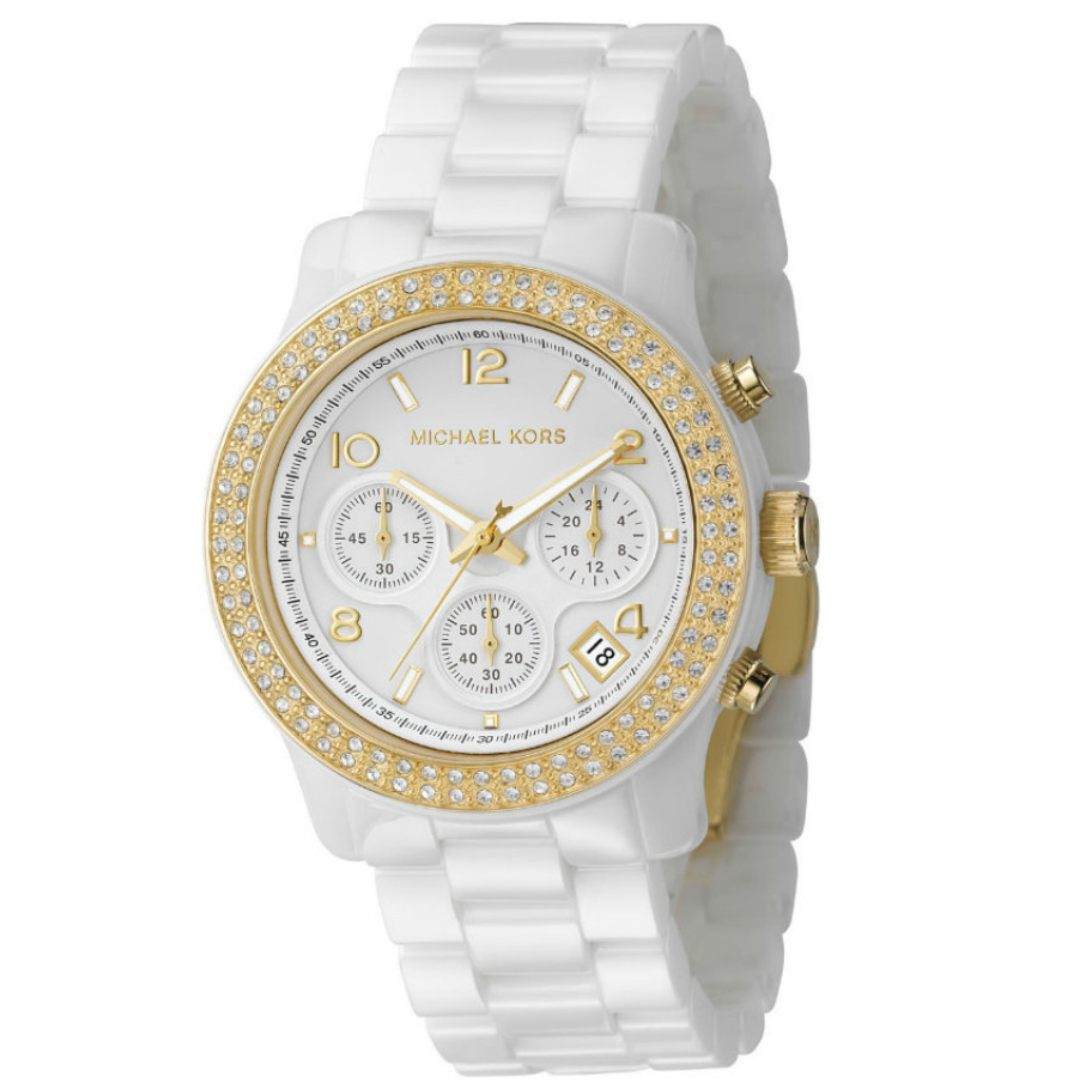 Michael Kors Chronograph Crystal Dial Ceramic White Gold Tone Ladies Watch MK5237