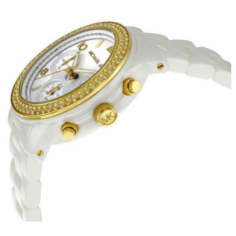 Michael Kors Chronograph Crystal Dial Ceramic White Gold Tone Ladies Watch MK5237 Thumbnail 2