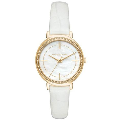Michael Kors Cinthia White Mother Of Pearl Dial Leather Band Ladies Watch MK2662 Thumbnail 1