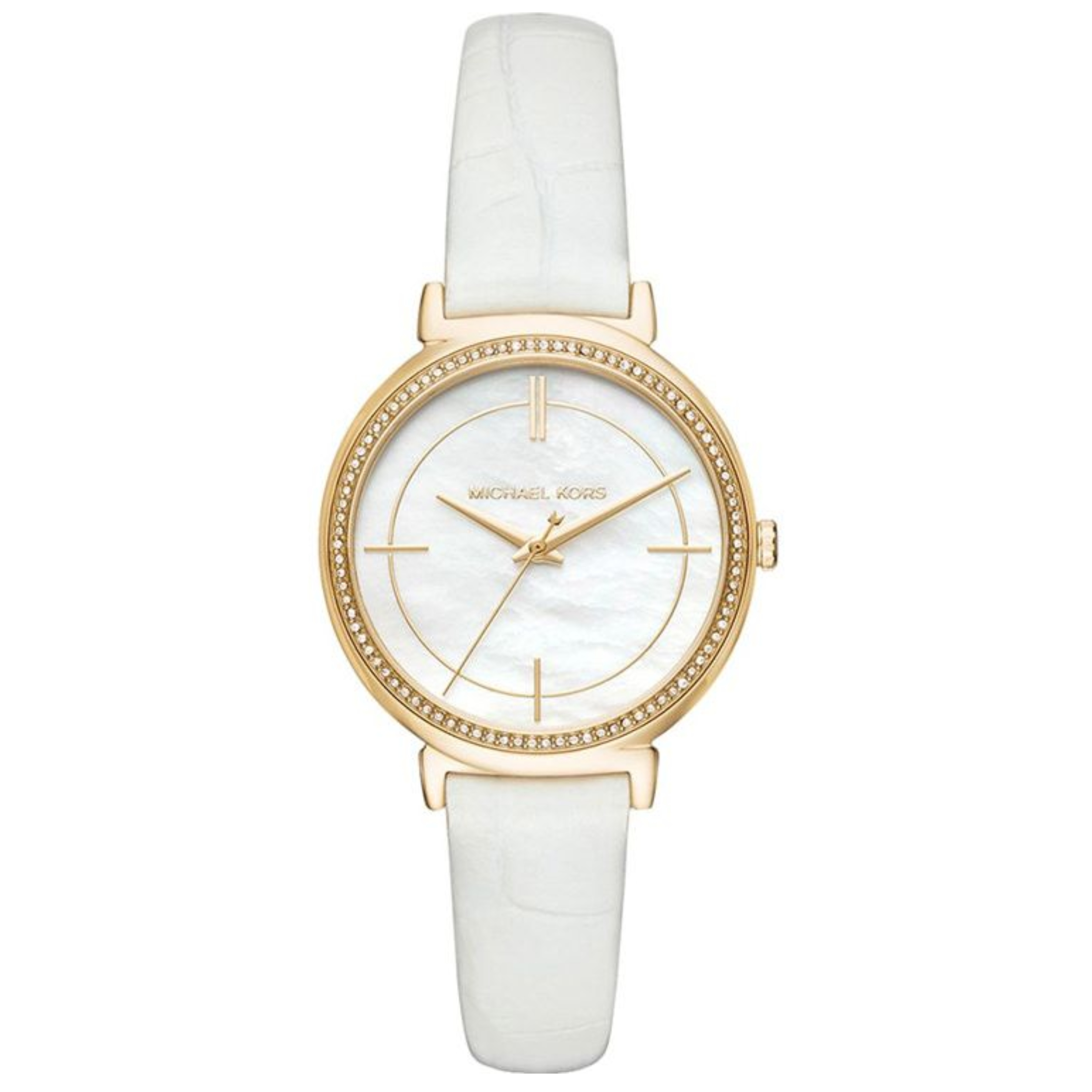 Michael Kors Cinthia White Mother Of Pearl Dial Leather Band Ladies Watch MK2662