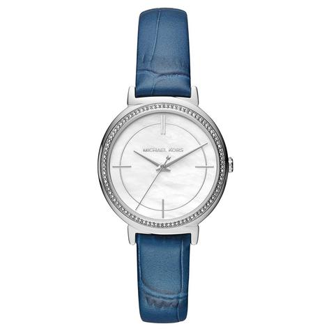 Michael Kors Cinthia White Mother Of Pearl Dial Leather Band Ladies Watch MK2661 Thumbnail 1
