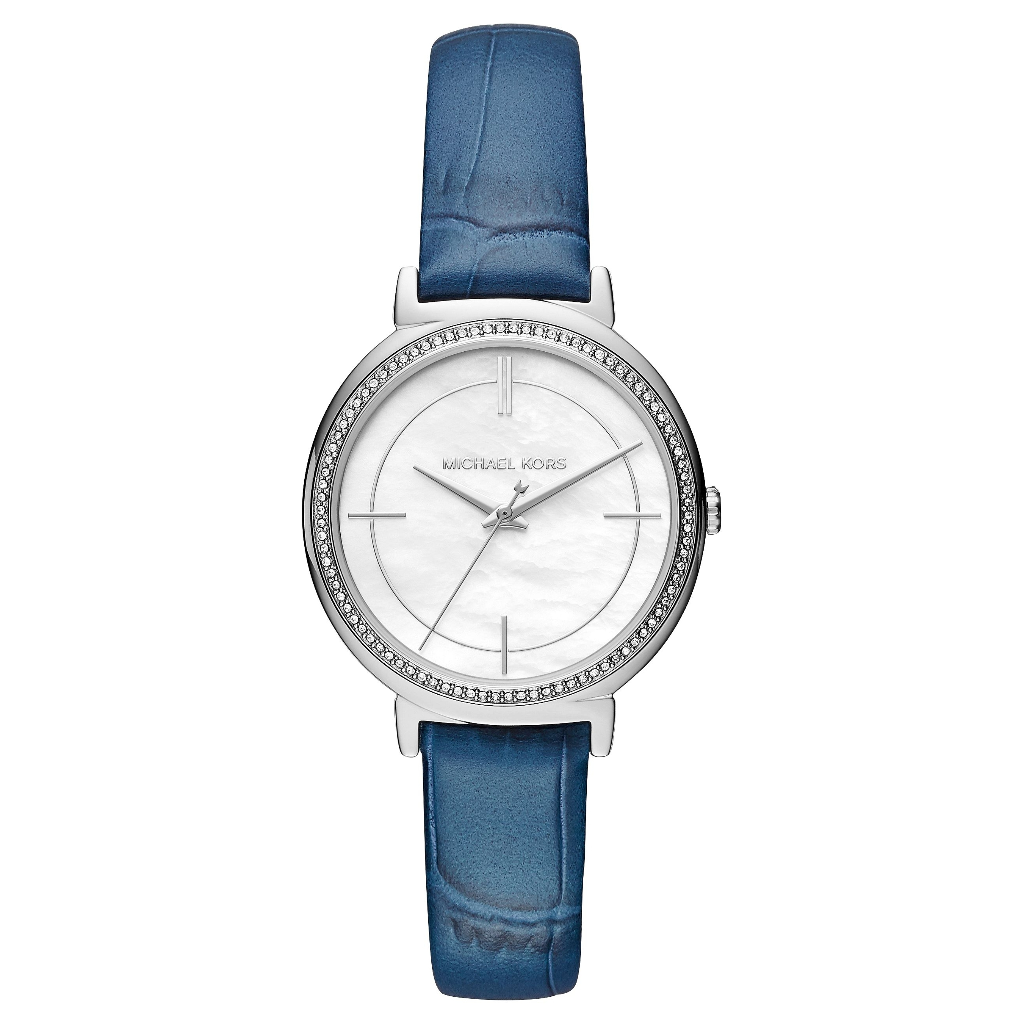Michael Kors Cinthia White Mother Of Pearl Dial Leather Band Ladies Watch MK2661