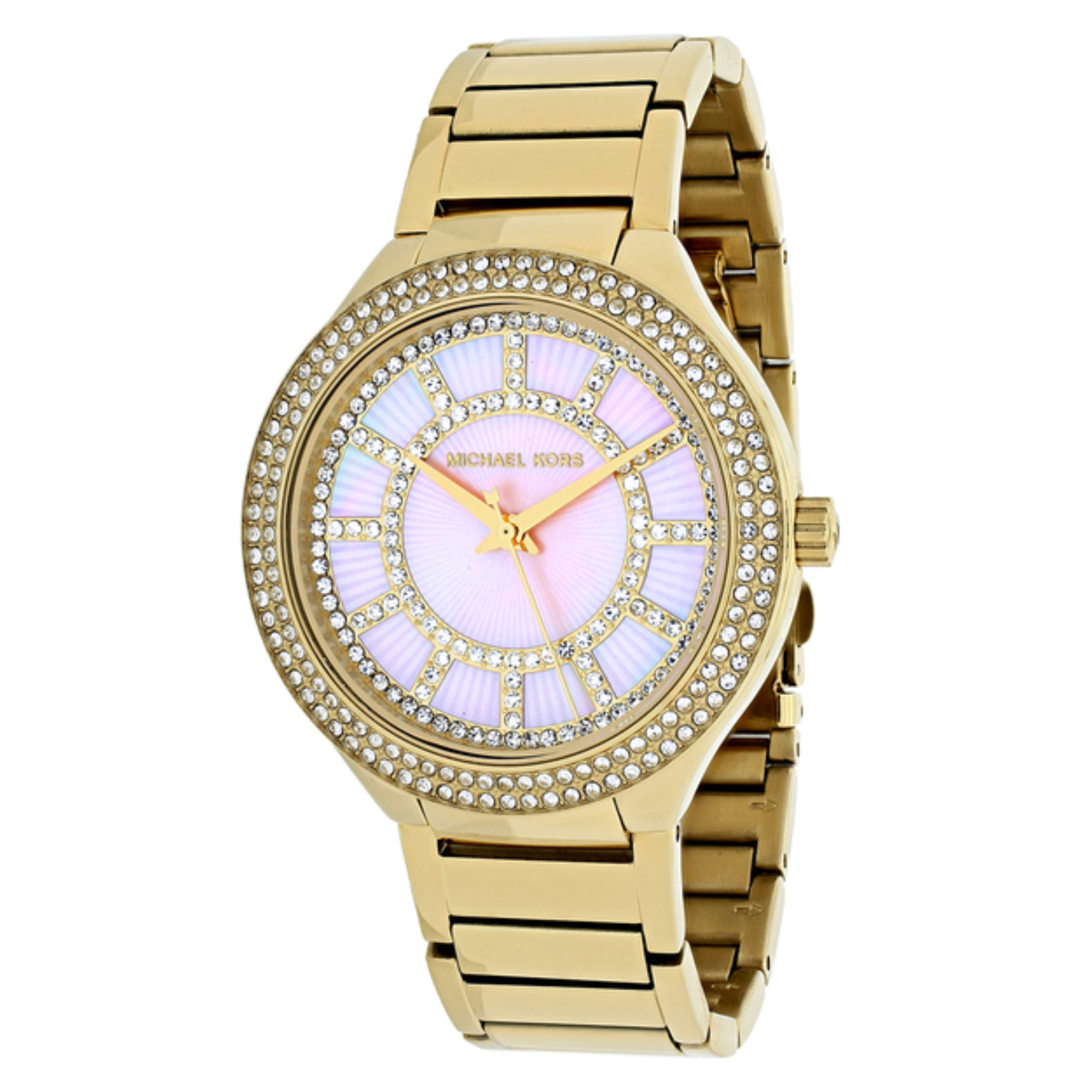 Michael Kors Kerry Pink Mother of Pearl Dial Gold Tone S.Steel Case Watch MK3396