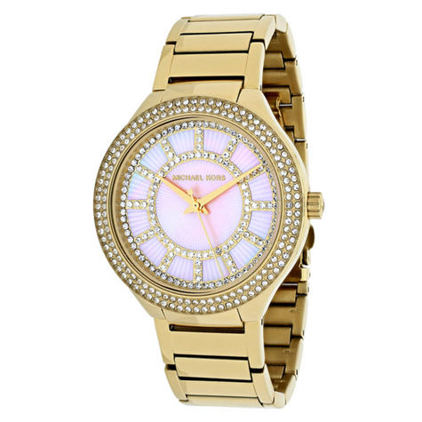 Michael Kors Kerry Pink Mother of Pearl Dial Gold Tone S.Steel Case Watch MK3396 Thumbnail 1