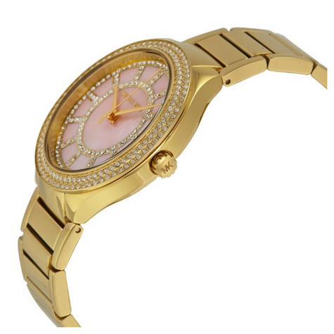 Michael Kors Kerry Pink Mother of Pearl Dial Gold Tone S.Steel Case Watch MK3396 Thumbnail 2