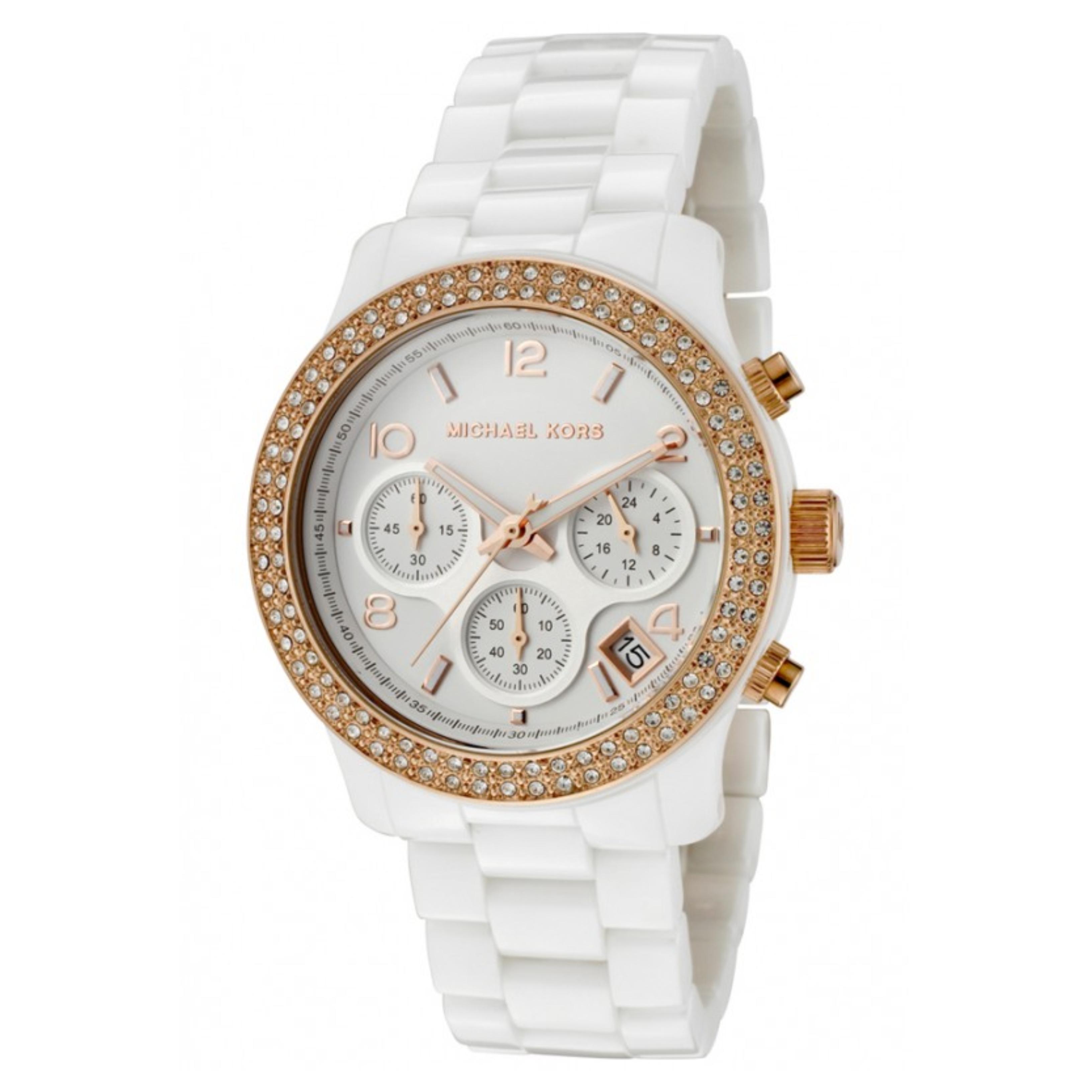 Michael Kors Ladies Watch|Swarovski Crystals Dial|White Ceramic Bracelet|MK5269