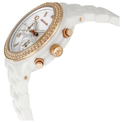 Michael Kors Ladies Watch|Swarovski Crystals Dial|White Ceramic Bracelet|MK5269 Thumbnail 2
