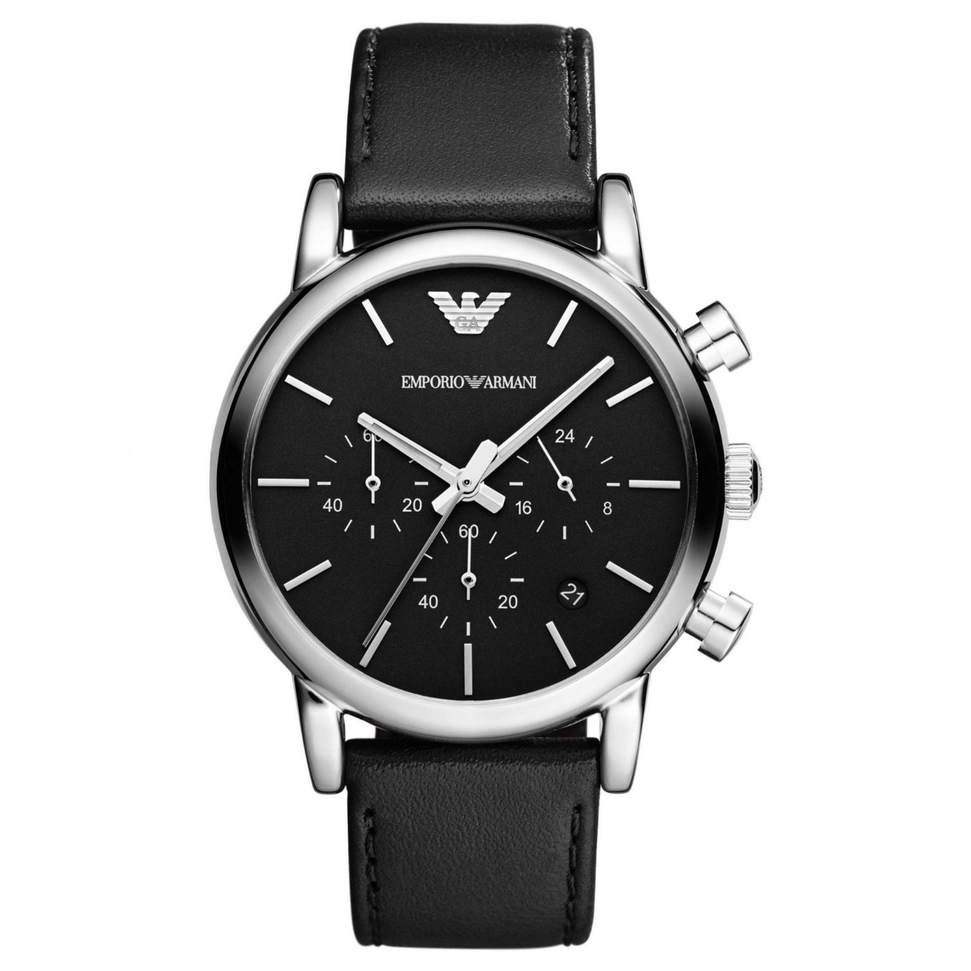 Emporio Armani Classic Chronograph Black Dial Leather Strap Men's Watch AR1733