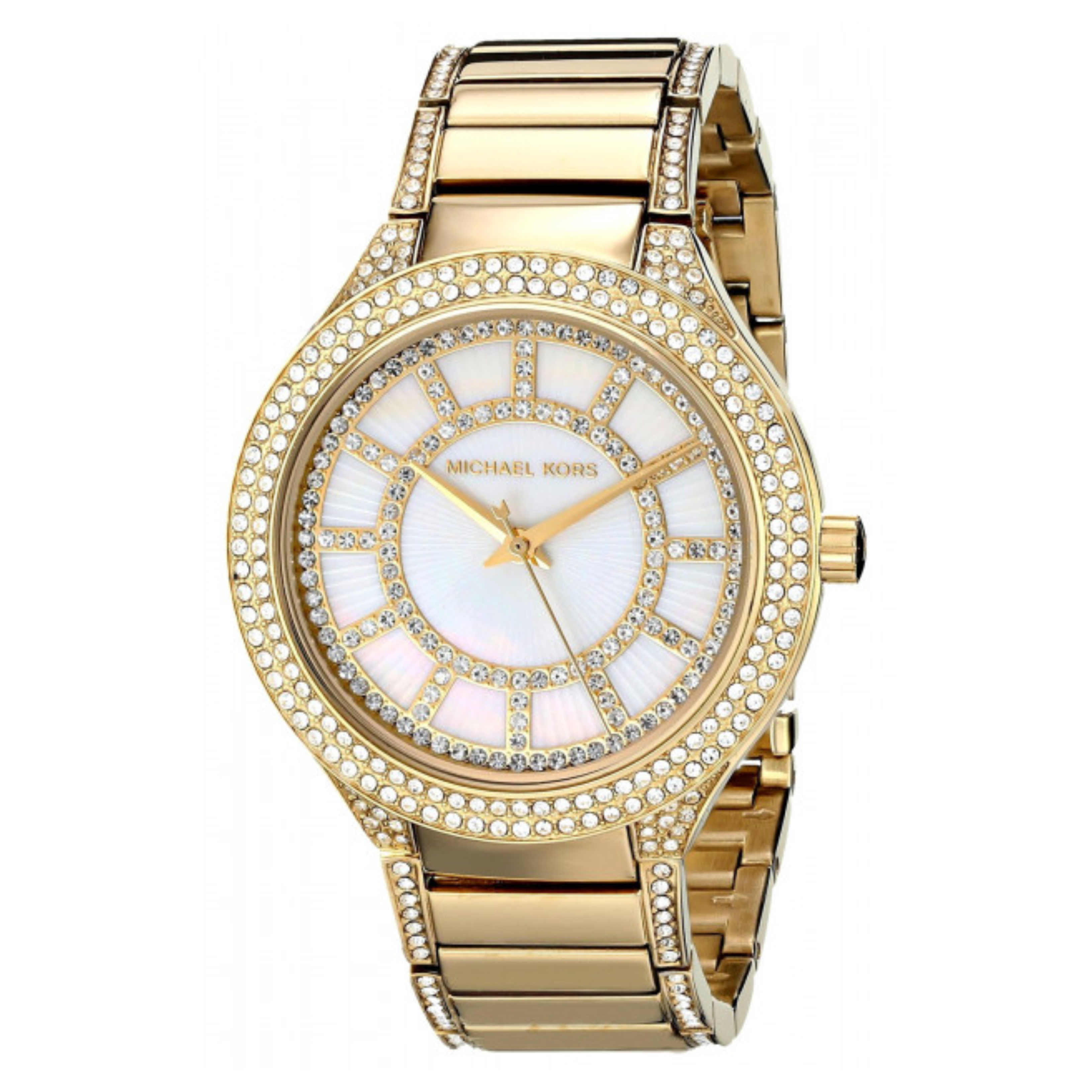 Michael Kors Kerry Mother of Pearl Crystal Dial Gold Tone Ladies Watch MK3312