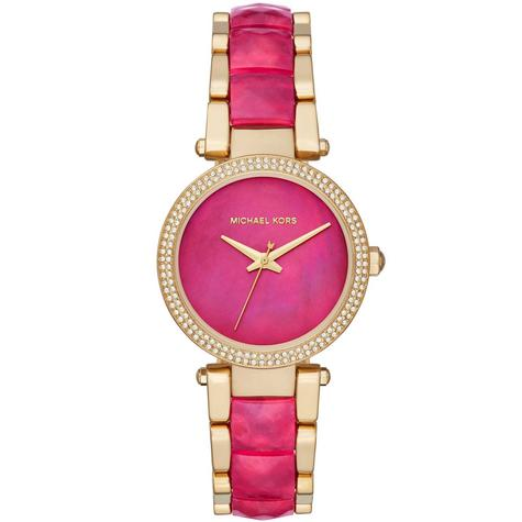 Michael Kors Parker Pink Mother Of Pearl Dial Dual Tone Band Ladies Watch MK6490 Thumbnail 1