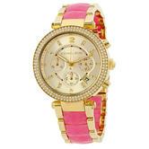 Michael Kors Parker Gold Crystal Glitz Chronograph Designer Ladies Watch MK6363