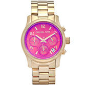 Michael Kors Runway Chronograph Gold Tone Women Watch | Iridescent Pink Dial | MK5939