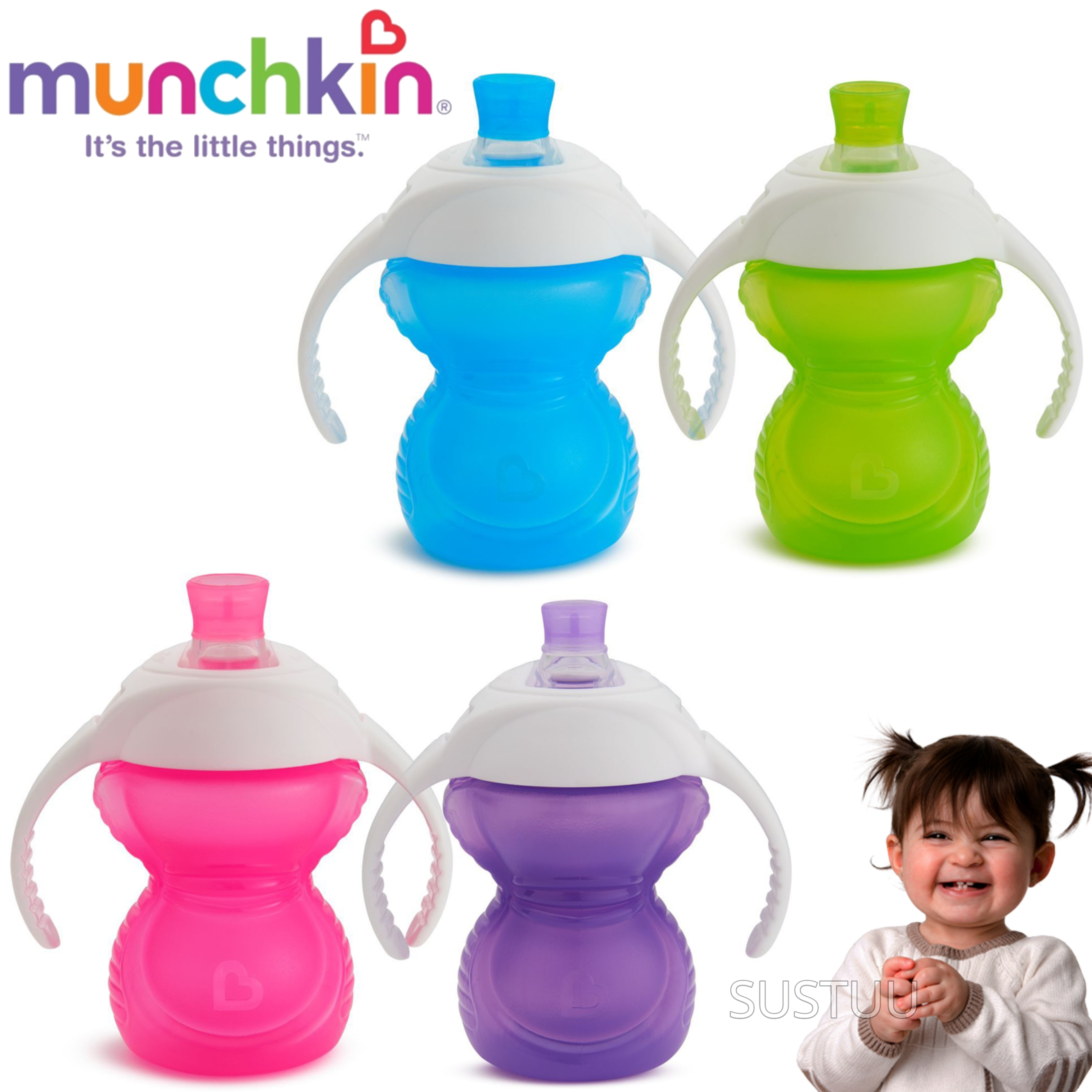 Munchkin ClickLock Chew Proof Baby's Trainer Cup | Soft Sippy Cup | Flip Straw Cup