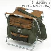 Shakespeare Folding Stool With Cooler Bag | For Fishing | Cap.100 Kg | Brown/Green