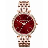 Michael Kors Darci Women's Watch|Red Swarovski Dial|Rose Gold Bracelet|MK3378|