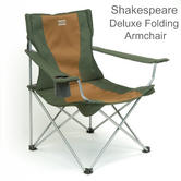 Shakespeare Deluxe Folding Armchair | For Fishing/ Hiking | Cap.110 kg | Brown/Green