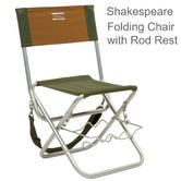 Shakespeare Folding  Folding Chair With Rod Rest | For Fishing/ Hiking | Cap.100 kg | Brown/Green