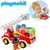 Playmobil 1.2.3 Ladder Unit Fire Truck | Baby's Interactive Playset | Realistic Toy | +18 Months