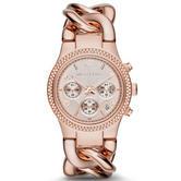 Michael Kors Runway Ladies Watch|Rose Gold Dial|Ion Plated Twist Bracelet|MK3247