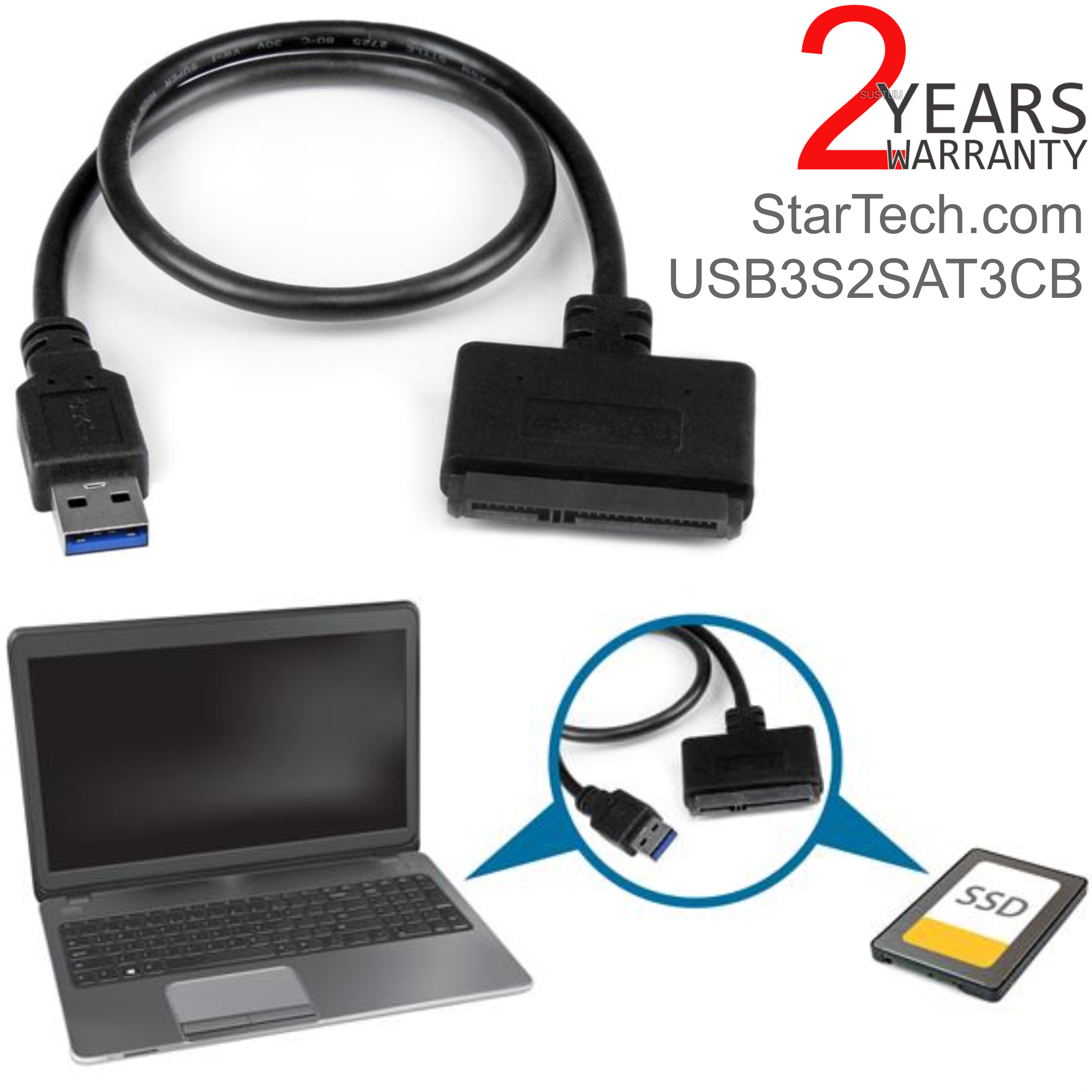StarTech.com 2.5'' SATA III Hard Drives to USB 3.0 Adapter Cable with UASP | Black