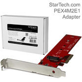 StarTech x4 PCI Express to M.2 PCIe SSD Adapter   Low & Full Profile Bracket   Red