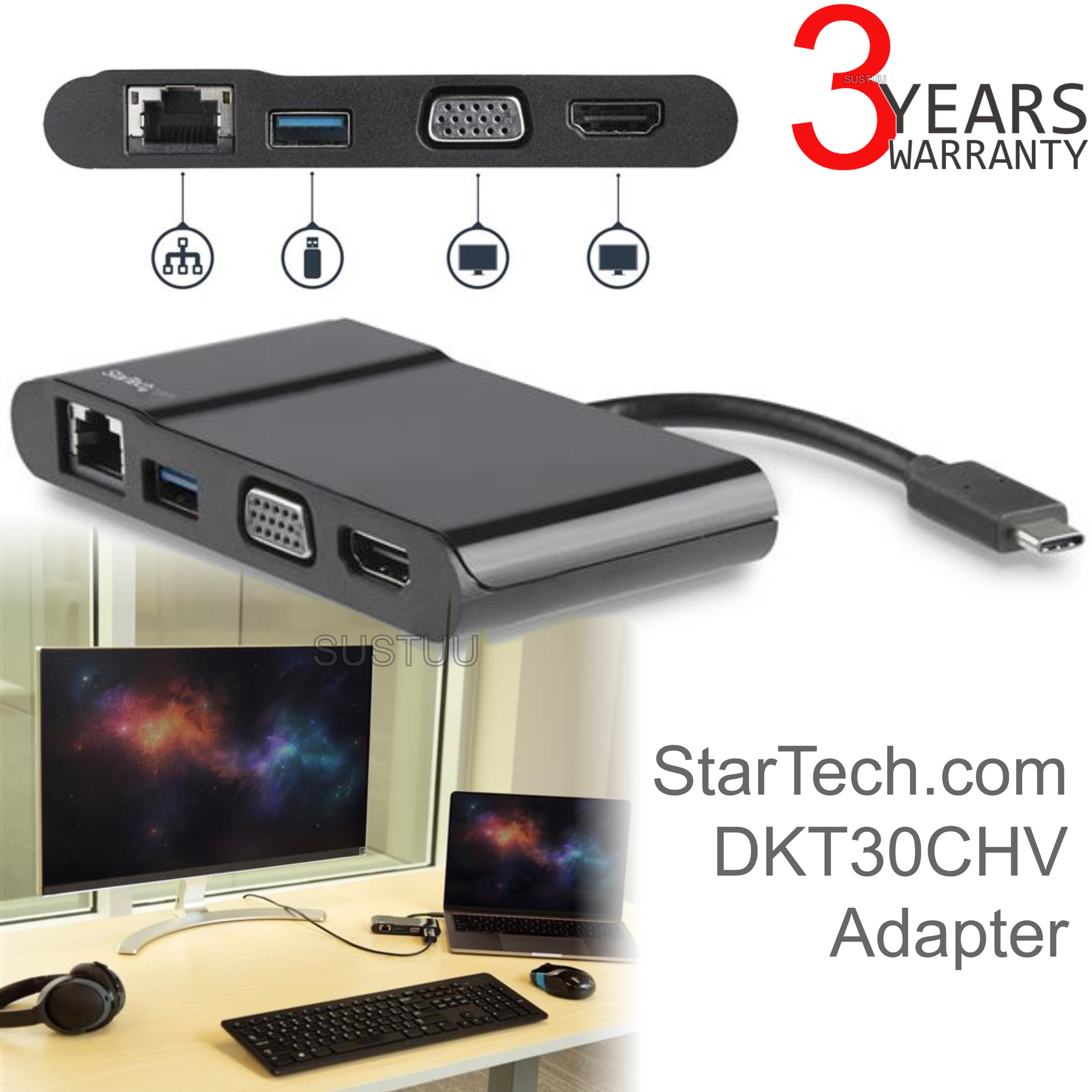 StarTech USB Type-C to 3.0/4K HDMI/VGA/Gigabit Ethernet Multiport Adapter | For Laptops