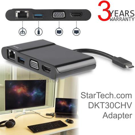 StarTech USB Type-C to 3.0/4K HDMI/VGA/Gigabit Ethernet Multiport Adapter | For Laptops Thumbnail 1