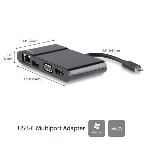 StarTech USB Type-C to 3.0/4K HDMI/VGA/Gigabit Ethernet Multiport Adapter | For Laptops Thumbnail 3