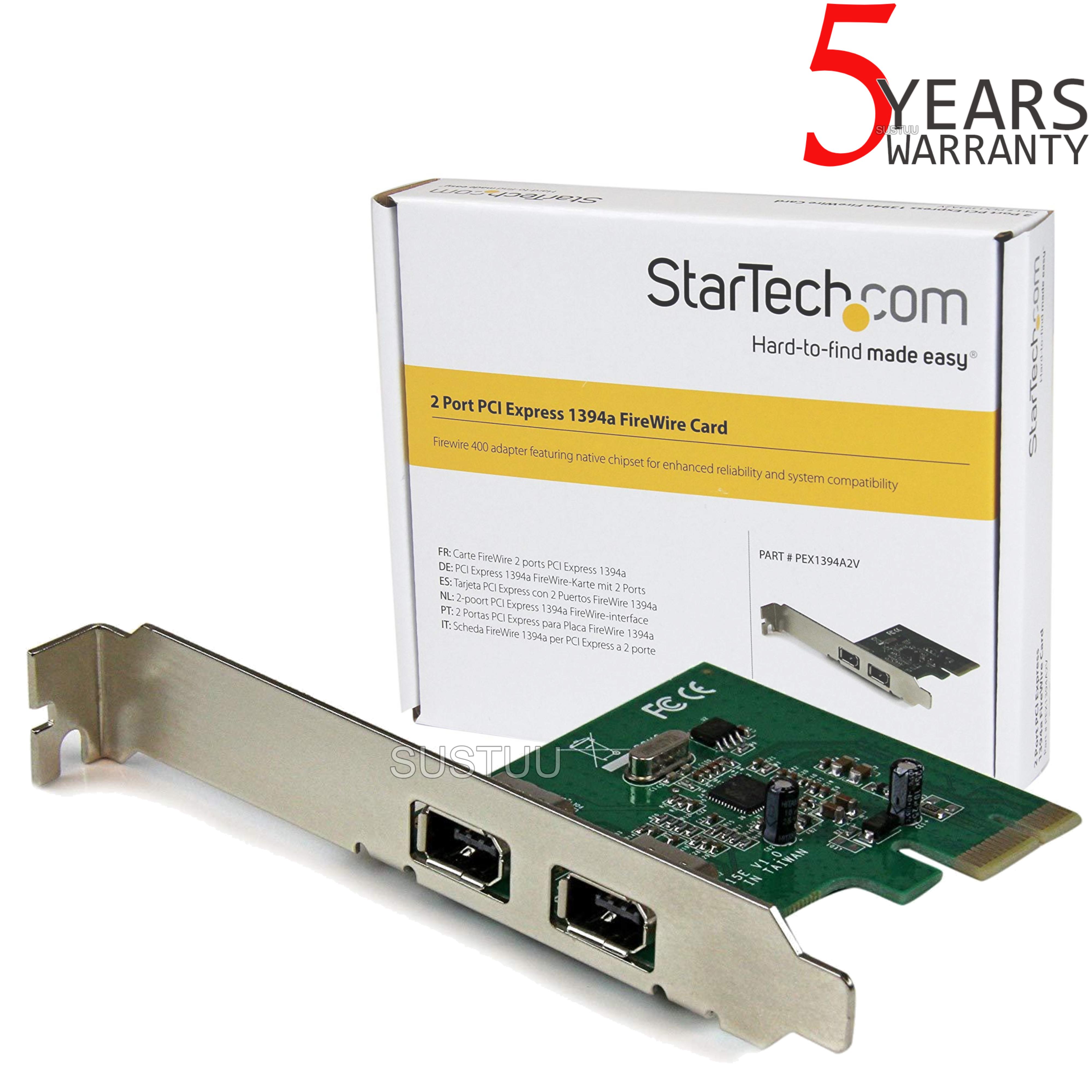 StarTech.com 2 Port 1394a PCI Express FireWire Adapter | Plug & Play | PEX1394A2V
