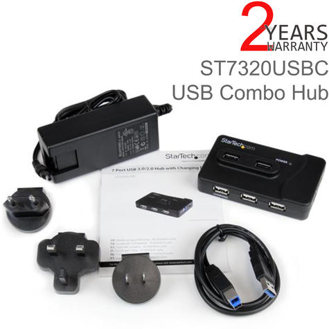 StarTech 6 Port USB 3.0/2.0 Combo Hub with 2A Charging Port | 20W Power Adapter*4 Thumbnail 1
