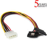 StarTech 12in LP4 Molex to 2x Latching Dual SATA Power Y Cable Splitter Adapter