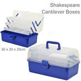 Shakespeare Cantilever 3 Tray Fishing Tackle Box | Plastic & Metal | Clear/ Blue