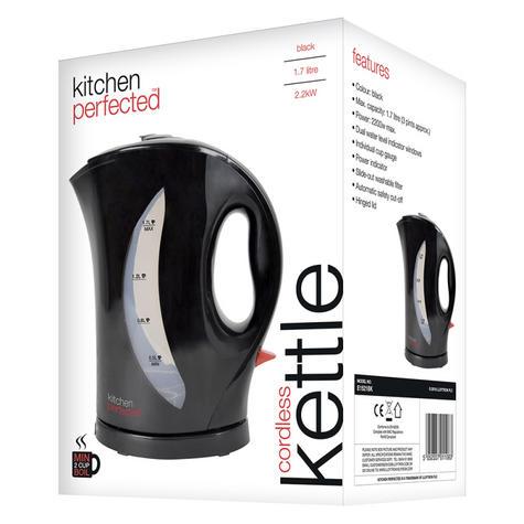 Lloytron E1521 KitchenPerfected Cordless Kettle Jug | 2 Kw | 1.7 Ltr | Hinged lid | Black Thumbnail 3