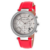 Michael Kors Parker Women's Watch| Round Chrono Dial|Pink Leather Strap|MK2278