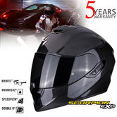 Scorpion Exo 1400 Air Carbon Open Face Motorcycle Helmet | TCT | Double D Ring | Black