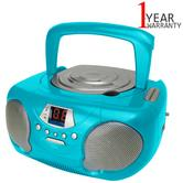 Groov-e GVPS713TL Portable Boombox | CD Player | Radio | LED Display | 3.5mm Aux-In | Teal