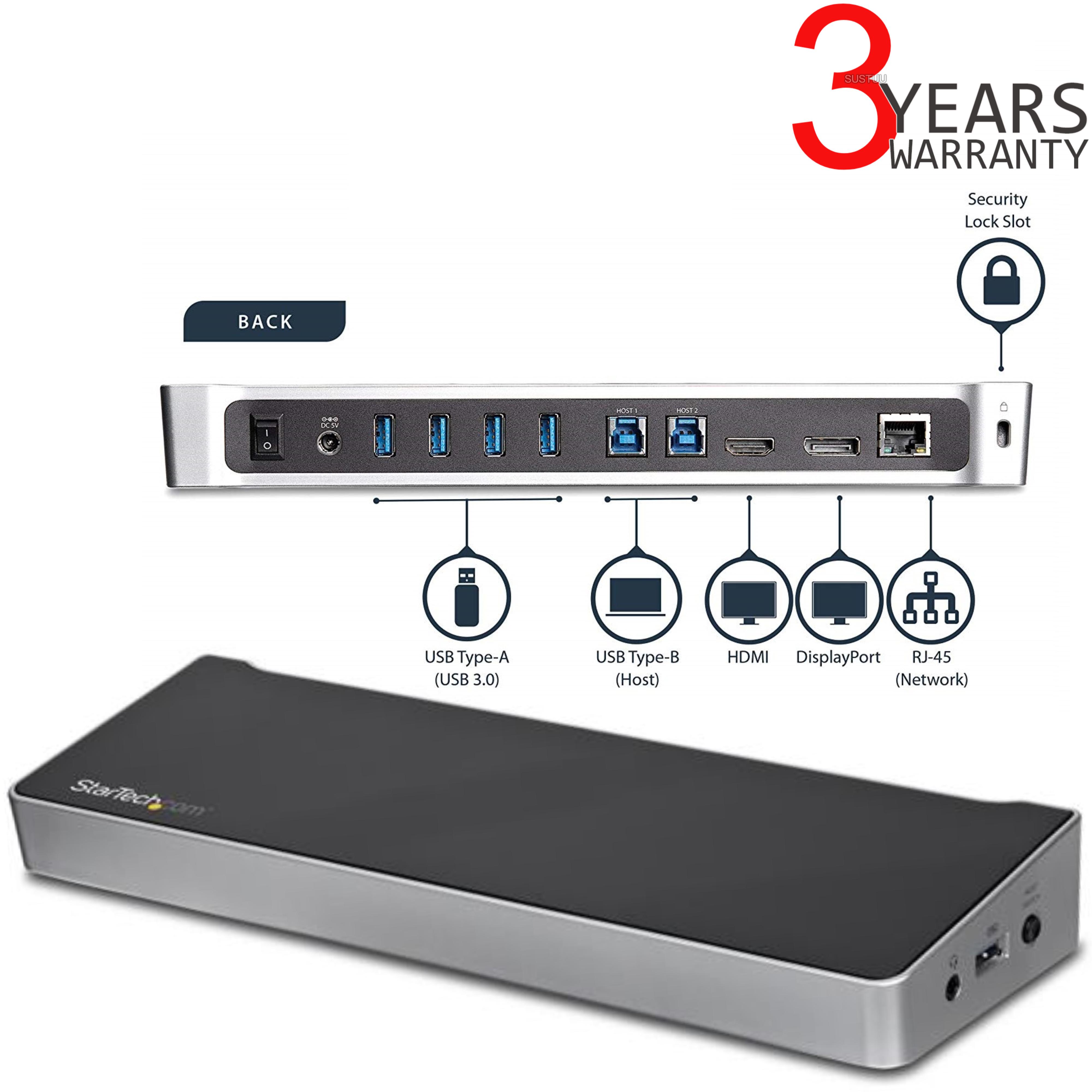 StarTech com Dual Monitor KVM USB 3 0 Docking Station for 2 Laptops | 5x  USB Ports