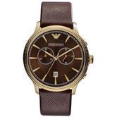 Emporio Armani Classic Men's Watch|Chrono Brown Dial|Brown Leather Strap|AR1793